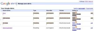 Google alerts listing